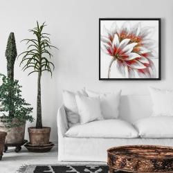 Framed 24 x 24 - Red flower with gold center