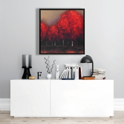 Framed 24 x 24 - Red trees by a dark day