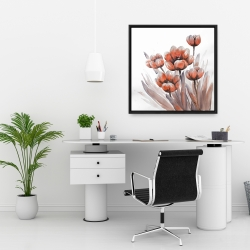 Framed 24 x 24 - Watercolor red flowers