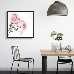 Framed 24 x 24 - Watercolor pink roses