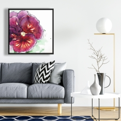 Framed 24 x 24 - Blossoming orchid with wavy petals