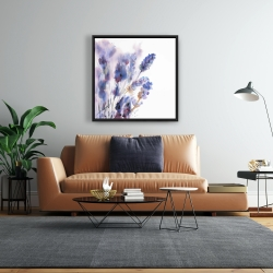 Framed 24 x 24 - Watercolor lavender flowers with blur effect