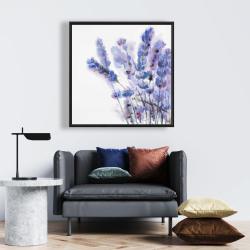 Framed 24 x 24 - Watercolor lavender flowers