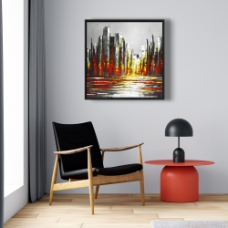 Framed 24 x 24 - Abstract red skyline
