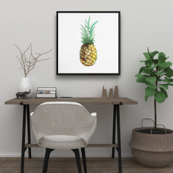 Framed 24 x 24 - Watercolor pineapple