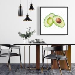 Framed 24 x 24 - Watercolor open avocado