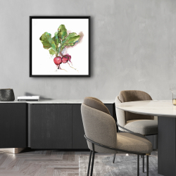 Framed 24 x 24 - Watercolor radish