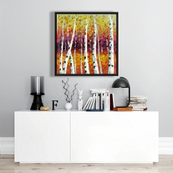 Framed 24 x 24 - Colored birches