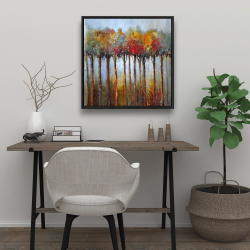 Framed 24 x 24 - Colorful leaves trees