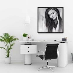 Framed 24 x 24 - Realistic woman portrait