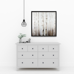 Framed 24 x 24 - Abstract white birches