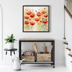 Framed 24 x 24 - Red flowers garden