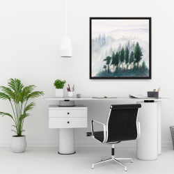 Framed 24 x 24 - Mountains landscape in watercolor