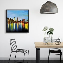 Framed 24 x 24 - City by night with a bridge