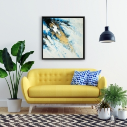 Framed 24 x 24 - Blue and gold marble