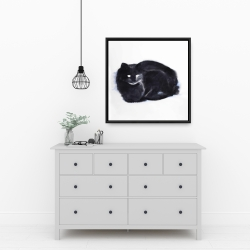 Framed 24 x 24 - Abstract watercolor cat