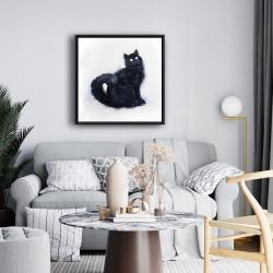 Framed 24 x 24 - Furry black watercolor cat