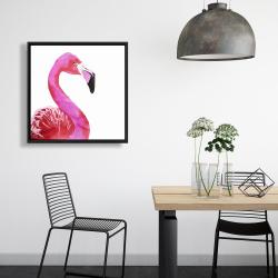 Framed 24 x 24 - Watercolor proud flamingo profile