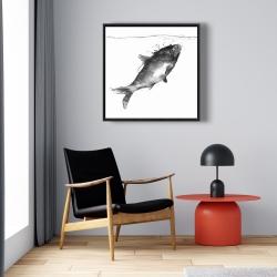 Framed 24 x 24 - Happy swimming fish