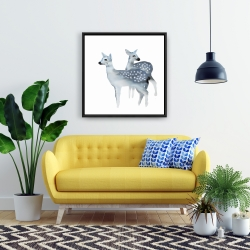 Framed 24 x 24 - Blue fawns