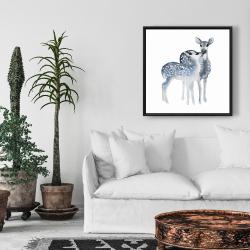 Framed 24 x 24 - Blue fawns love