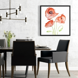 Framed 24 x 24 - Watercolor poppies