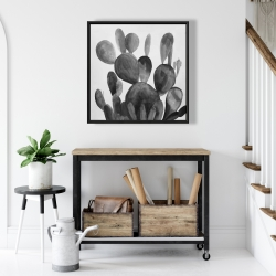 Framed 24 x 24 - Grayscale paddle cactus plant