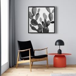 Framed 24 x 24 - Grayscale cactus