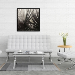 Framed 24 x 24 - Grayscale tropical plants