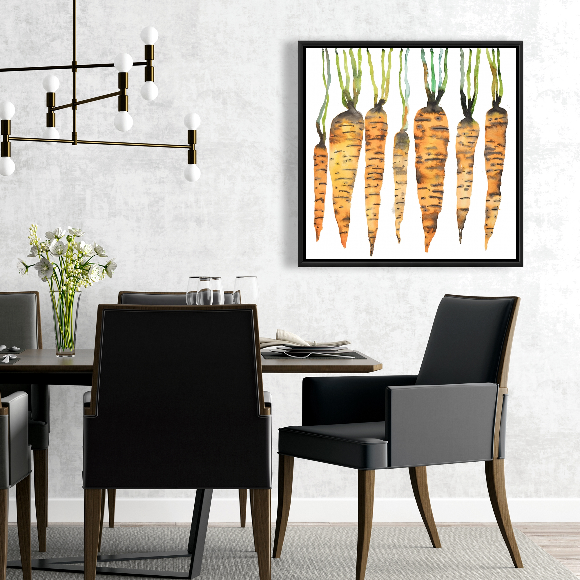 Framed 24 x 24 - Watercolor carrots