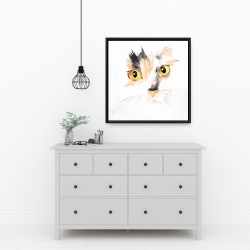 Framed 24 x 24 - Watercolor cat face closeup