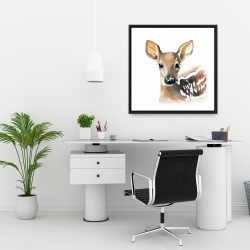 Framed 24 x 24 - Watercolor fawn face
