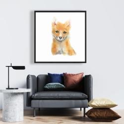 Framed 24 x 24 - Watercolor baby fox