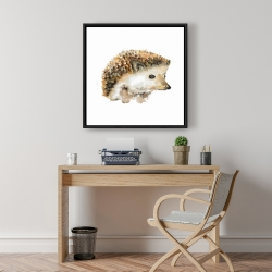 Framed 24 x 24 - Watercolor hedgehog