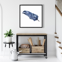 Framed 24 x 24 - Blue feather