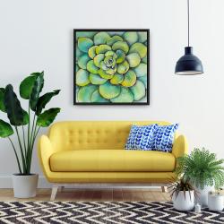 Framed 24 x 24 - Watercolor succulent plant