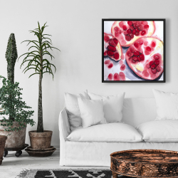 Framed 24 x 24 - Pomegranate pieces