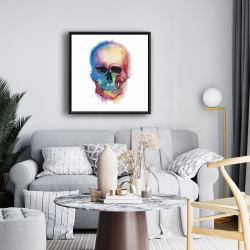 Framed 24 x 24 - Watercolor colorful skull