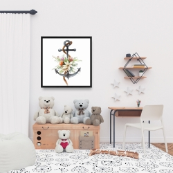 Framed 24 x 24 - Anchor with flowers