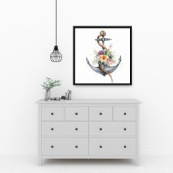 Framed 24 x 24 - Boat anchor with flowers