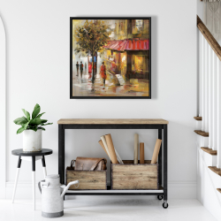 Framed 24 x 24 - Abstract street with passers