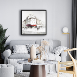 Framed 24 x 24 - White street with red accents