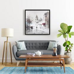 Framed 24 x 24 - Gray city street