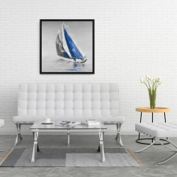 Framed 24 x 24 - Gray and blue boat sailing