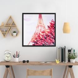 Framed 24 x 24 - Pink eiffel tower