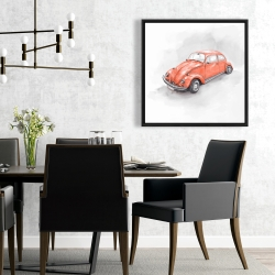 Framed 24 x 24 - Vintage red beetle