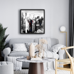 Framed 24 x 24 - White city with paint splash