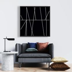 Framed 24 x 24 - White stripes on black background