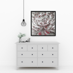 Framed 24 x 24 - Gray and pink flower