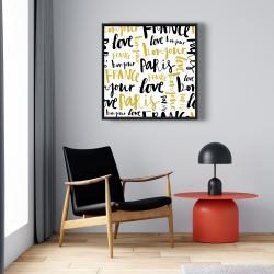 Framed 24 x 24 - Bonjour paris